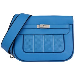 2014 Hermès Blue Paradis & Blue Saphir Perforated Swift Leather Berlin 28cm