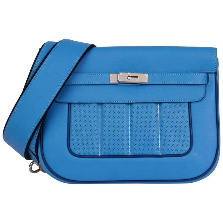2014 Hermès Blue Paradis & Blue Saphir Perforated Swift Leather Berlin 28cm  For Sale