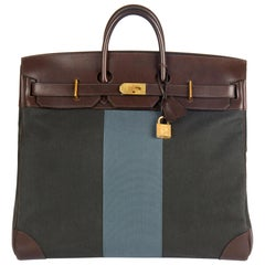 2014 Hermès Ebene Barenia Leather & Green, Blue Galon Toile H Flag Birkin 50cm H