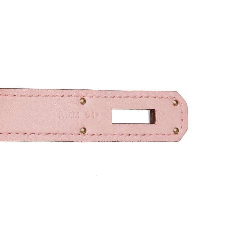 2014 Hermès Rose Sakura & Argile Perforated Swift Leather Berline For Sale 5