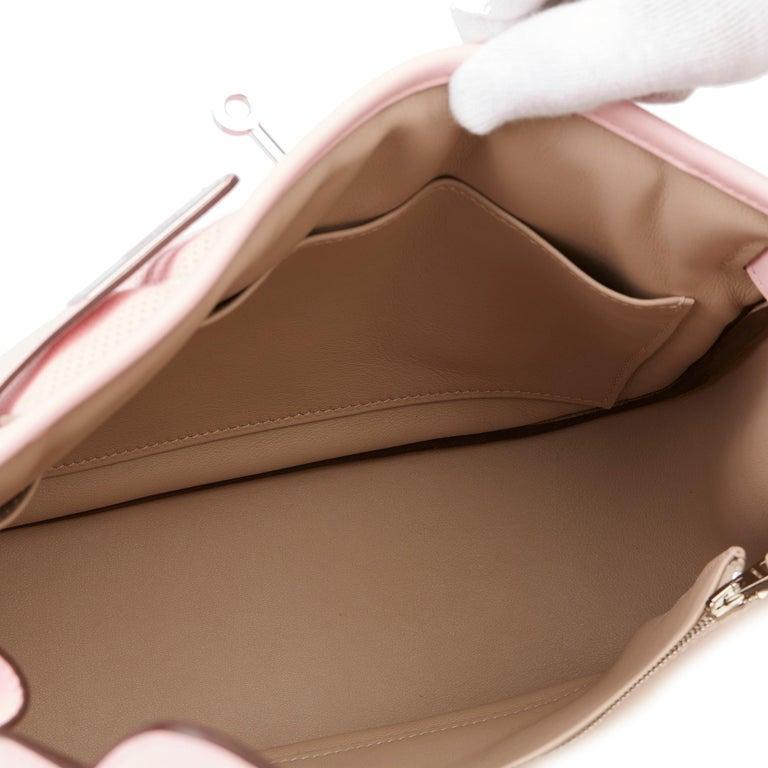 2014 Hermès Rose Sakura & Argile Perforated Swift Leather Berline For Sale 6
