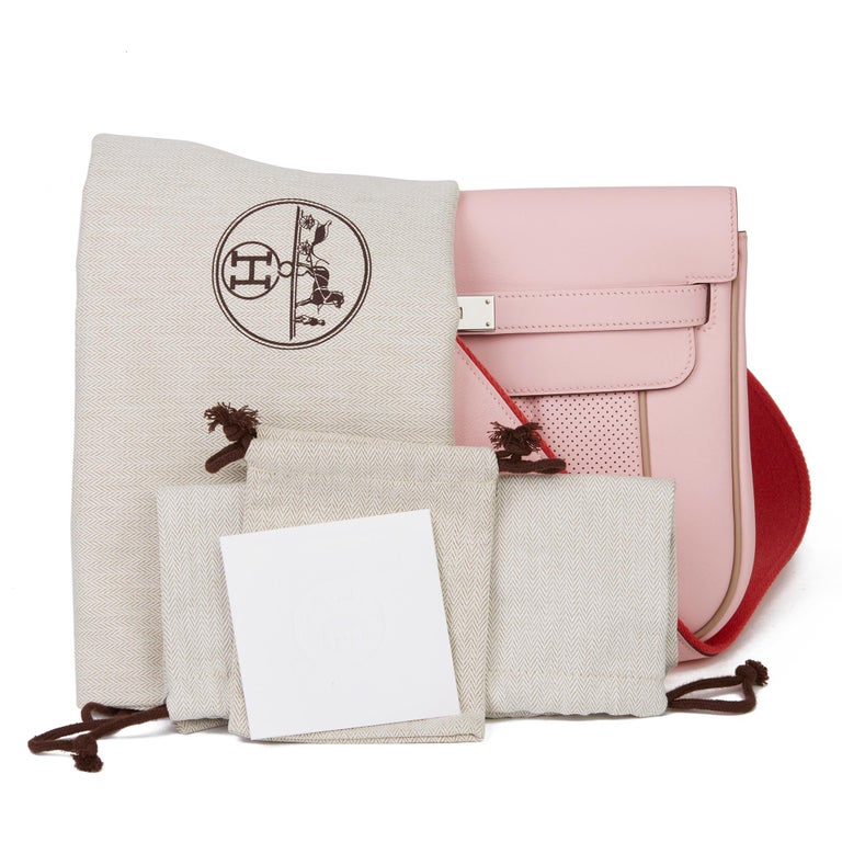 2014 Hermès Rose Sakura & Argile Perforated Swift Leather Berline For Sale 7