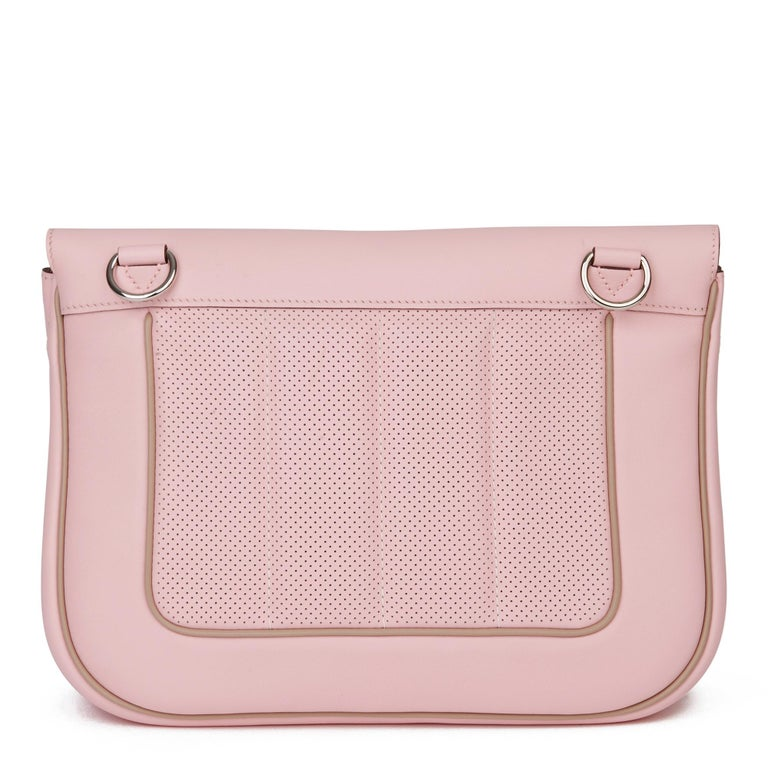 Women's 2014 Hermès Rose Sakura & Argile Perforated Swift Leather Berline For Sale