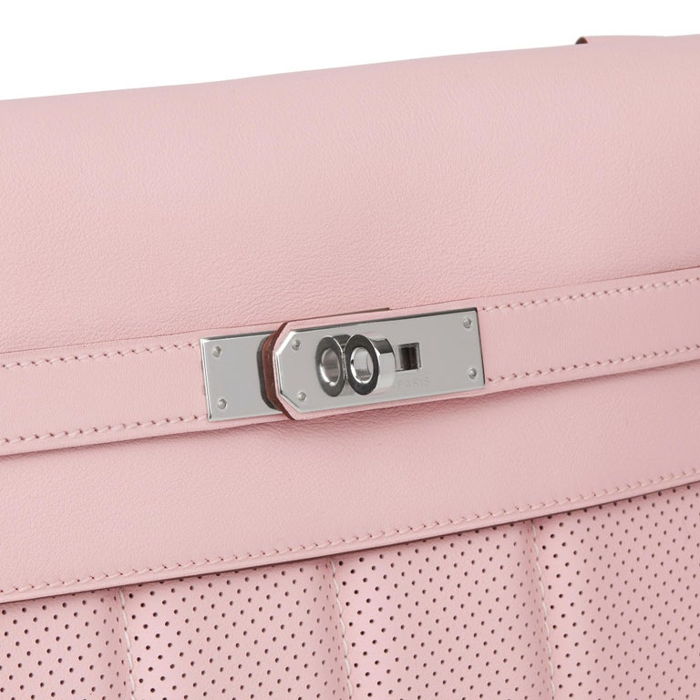 2014 Hermès Rose Sakura & Argile Perforated Swift Leather Berline For Sale 2