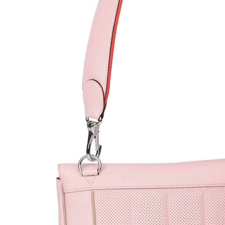 2014 Hermès Rose Sakura & Argile Perforated Swift Leather Berline For Sale 3