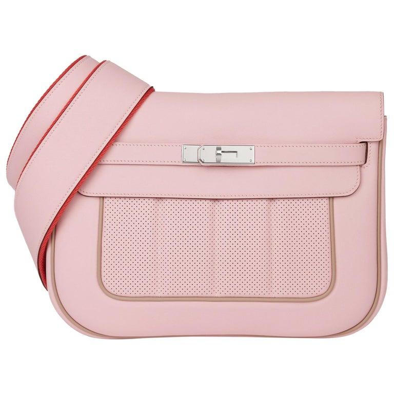 2014 Hermès Rose Sakura & Argile Perforated Swift Leather Berline For Sale