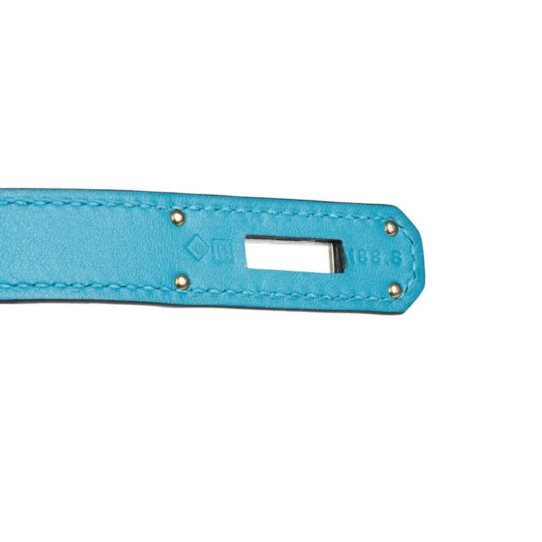 2014 Hermès Turquoise Togo & Swift Leather Ghillies Kelly 35cm Retourne For Sale 5