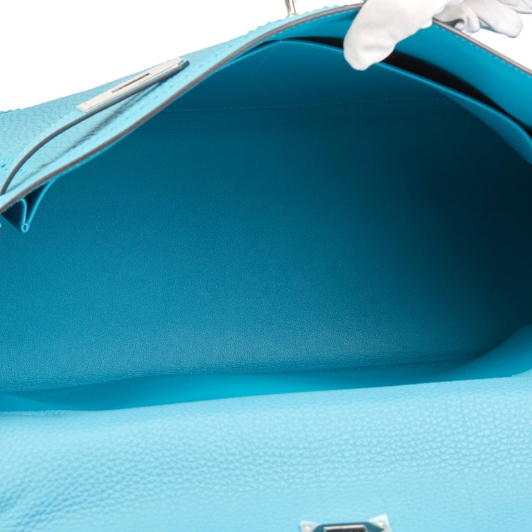 2014 Hermès Turquoise Togo & Swift Leather Ghillies Kelly 35cm Retourne For Sale 6