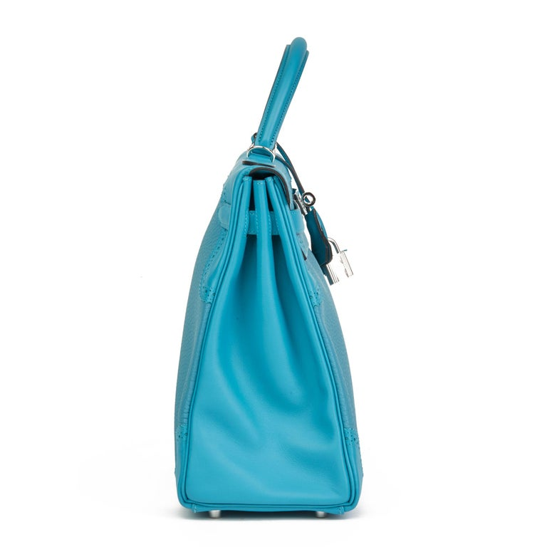 Blue 2014 Hermès Turquoise Togo & Swift Leather Ghillies Kelly 35cm Retourne For Sale