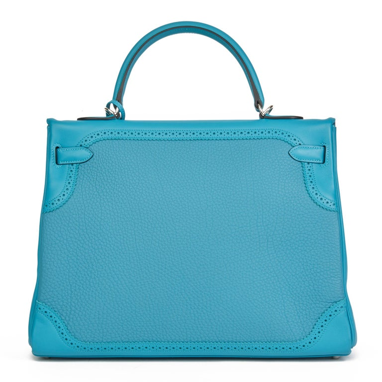 Women's 2014 Hermès Turquoise Togo & Swift Leather Ghillies Kelly 35cm Retourne For Sale