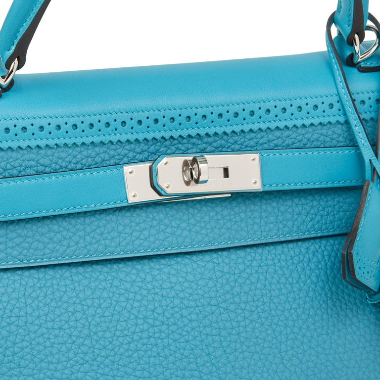 2014 Hermès Turquoise Togo & Swift Leather Ghillies Kelly 35cm Retourne For Sale 2