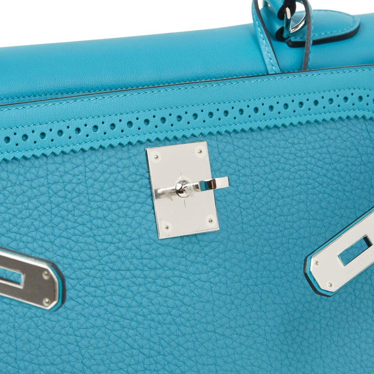 2014 Hermès Turquoise Togo & Swift Leather Ghillies Kelly 35cm Retourne For Sale 3