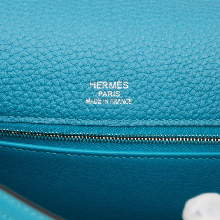2014 Hermès Turquoise Togo & Swift Leather Ghillies Kelly 35cm Retourne For Sale 4