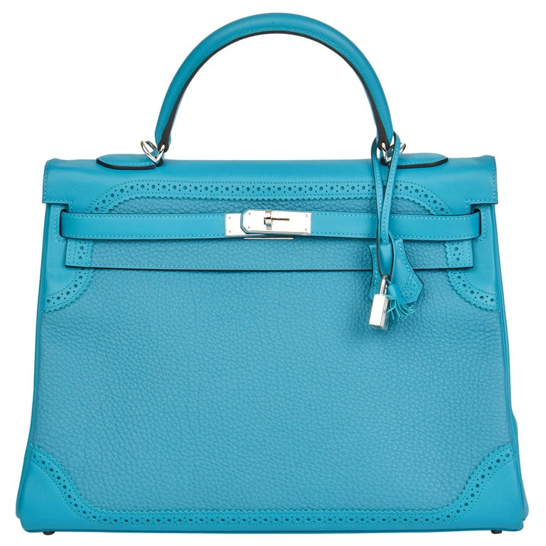 2014 Hermès Turquoise Togo & Swift Leather Ghillies Kelly 35cm Retourne For Sale