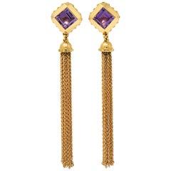 2014 Louis Vuitton Amethyst 18 Karat Gold Emprise Tassel Earrings