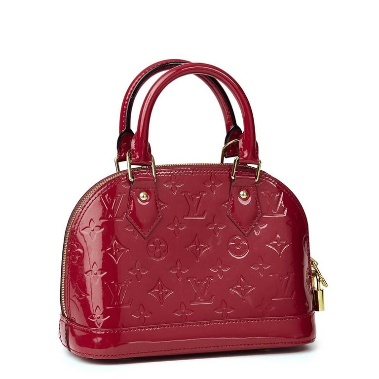 Red 2014 Louis Vuitton Indian Rose Vernis Leather Alma BB For Sale