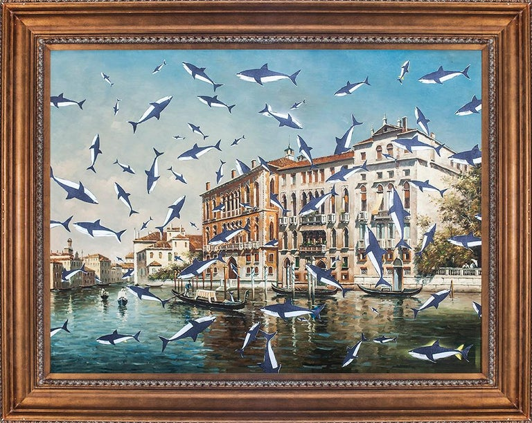 2014 Venice shark painting by artist and actor Jordi Mollá.  Dimensions without frame: 88 x 118 cm Dimensions with frame: 120 x 90 cm.