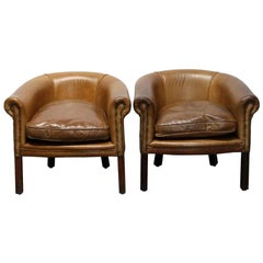 2014 Pair of Great Britain Knightsbridge Leather Studded Club Chairs