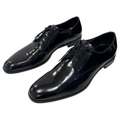 2014 Prada Men Black Leather Formal Shoes