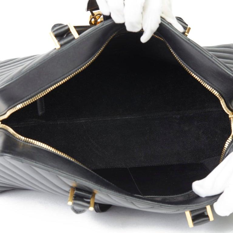 2014 Saint Laurent Black Quilted Large Chevron Tote Bag  For Sale 6