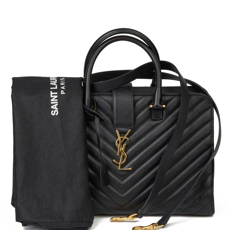 2014 Saint Laurent Black Quilted Large Chevron Tote Bag  For Sale 7