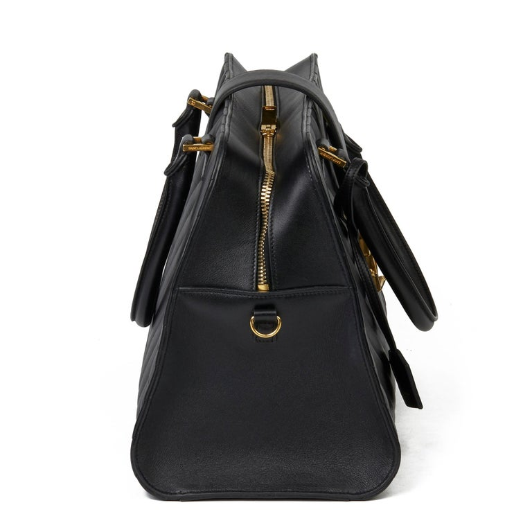 2014 Saint Laurent Black Quilted Large Chevron Tote Bag  In Excellent Condition For Sale In Bishop's Stortford, Hertfordshire
