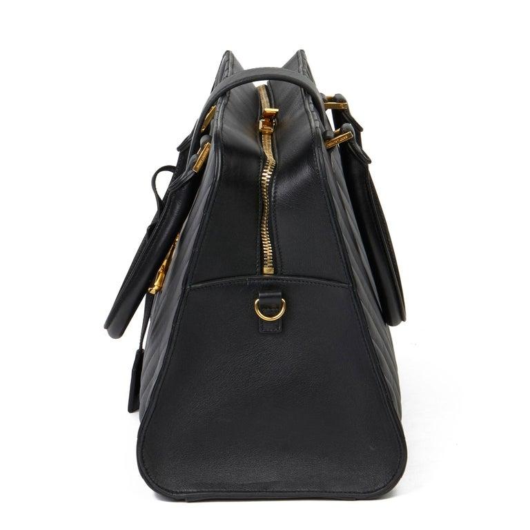 Women's 2014 Saint Laurent Black Quilted Large Chevron Tote Bag  For Sale