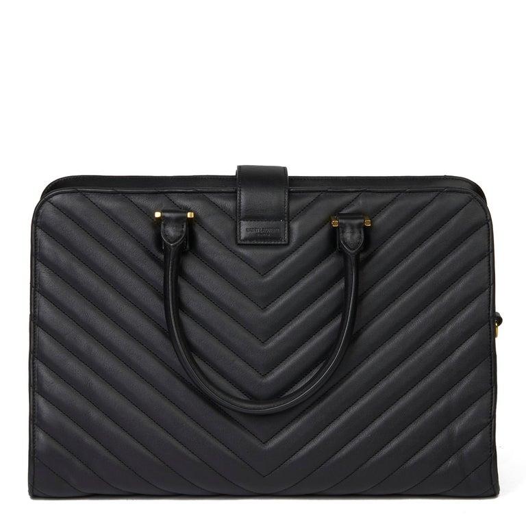 2014 Saint Laurent Black Quilted Large Chevron Tote Bag  For Sale 1