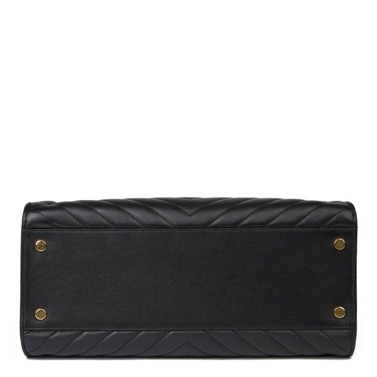 2014 Saint Laurent Black Quilted Large Chevron Tote Bag  For Sale 2