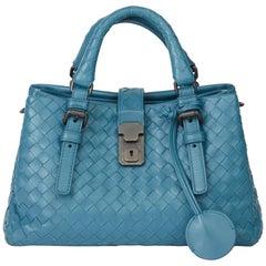 2015 Bottega Veneta Blue Woven Calfskin Leather Mini Roma