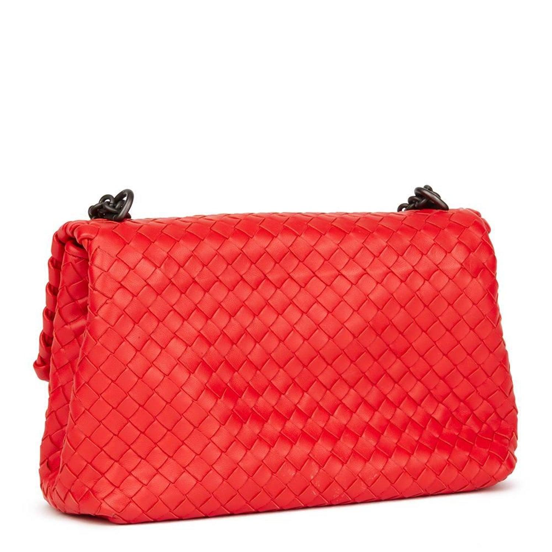 a147dea559 2015 Bottega Veneta Vesuvius Red Woven Calfskin Leather Small Olimpia Bag  at 1stdibs