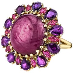 20.15 Carat Oval Star Sapphire with Pear & Marquise cut Rubies 18k Gold Ring