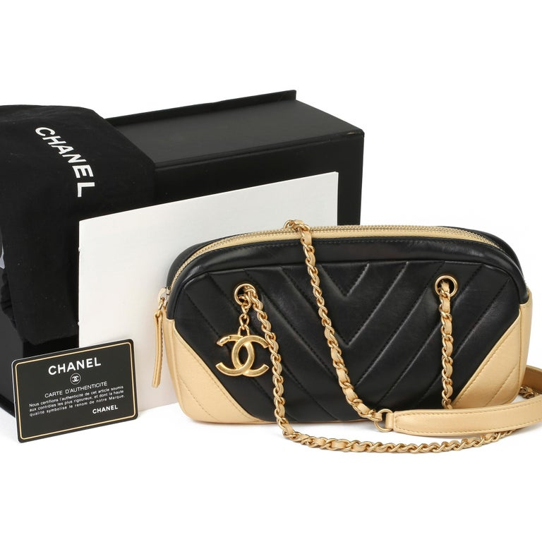 2015 Chanel Black & Gold Chevron Quilted Lambskin Timeless Charm Camera Bag 8