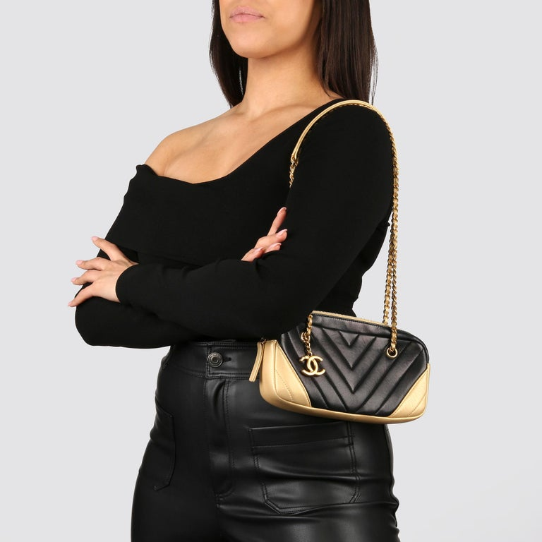 2015 Chanel Black & Gold Chevron Quilted Lambskin Timeless Charm Camera Bag 10