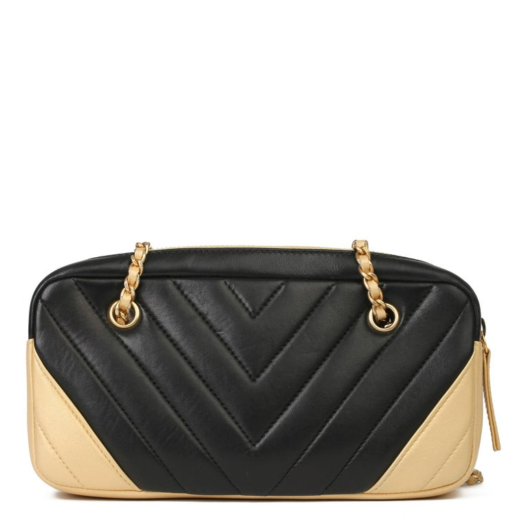 2015 Chanel Black & Gold Chevron Quilted Lambskin Timeless Charm Camera Bag 1