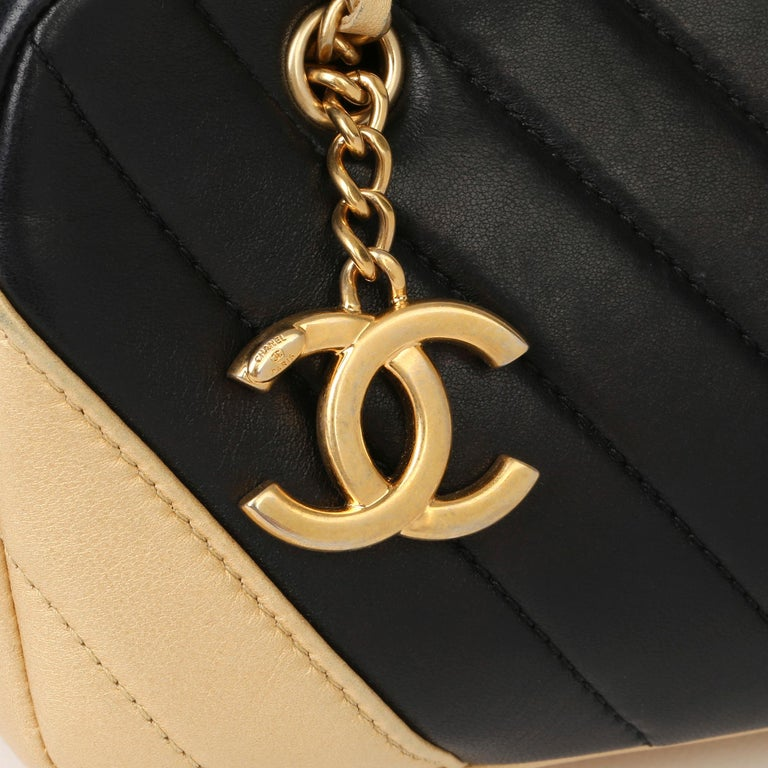2015 Chanel Black & Gold Chevron Quilted Lambskin Timeless Charm Camera Bag 3