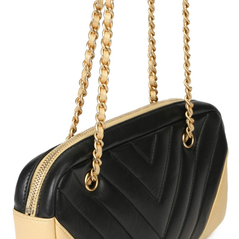 2015 Chanel Black & Gold Chevron Quilted Lambskin Timeless Charm Camera Bag 4