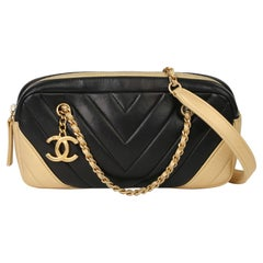 2015 Chanel Black & Gold Chevron Quilted Lambskin Timeless Charm Camera Bag