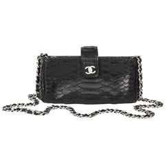 2015 Chanel Black Python Leather Pouch-on-Chain POC