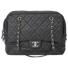 2015 Chanel Black Quilted Caviar Leather Jumbo Classic Camera Bag