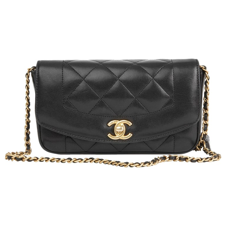 53a56851fc0e 2015 Chanel Black Quilted Lambskin Mini Reissue Diana Classic Single Flap  Bag For Sale