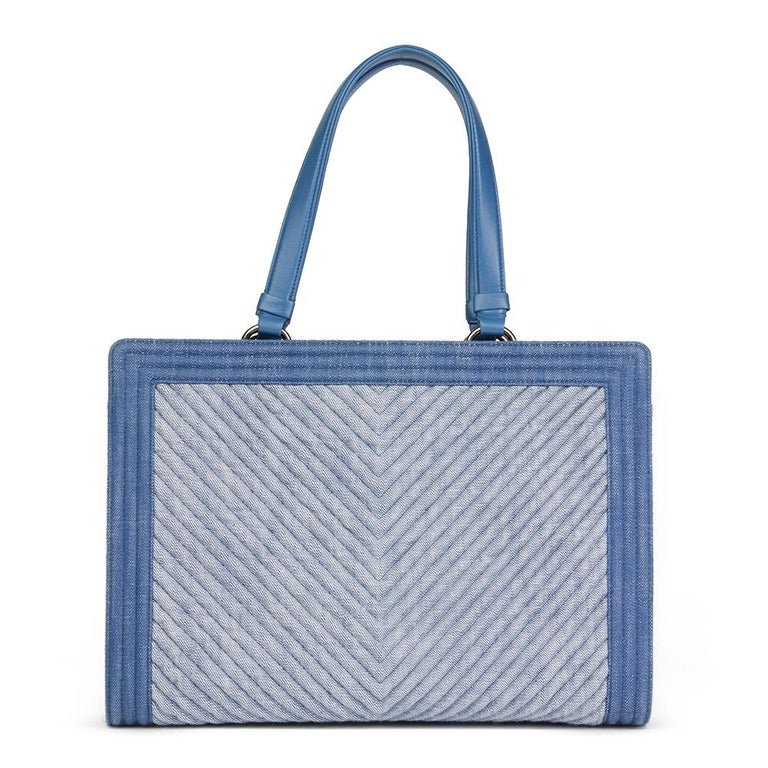 Women's or Men's 2015 Chanel Blue Chevron Quilted Denim Le Boy Tote For Sale