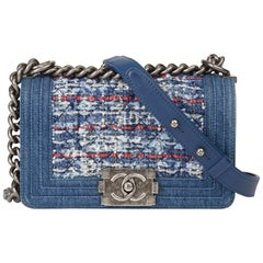 2015 Chanel Blue Denim & Multicolour Quilted Tweed Fabric Small Le Boy