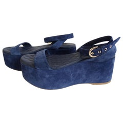 Chanel 2015 Blue Suede Platform Sandals