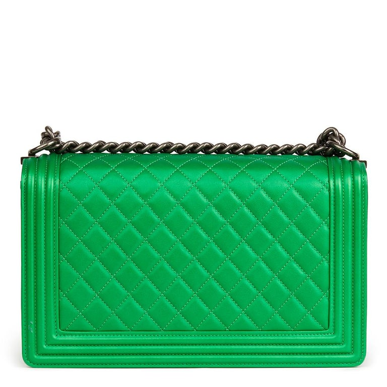 c7f27e22d76bb0 Women's 2015 Chanel Green Quilted Metallic Lambskin New Medium Le Boy For  Sale
