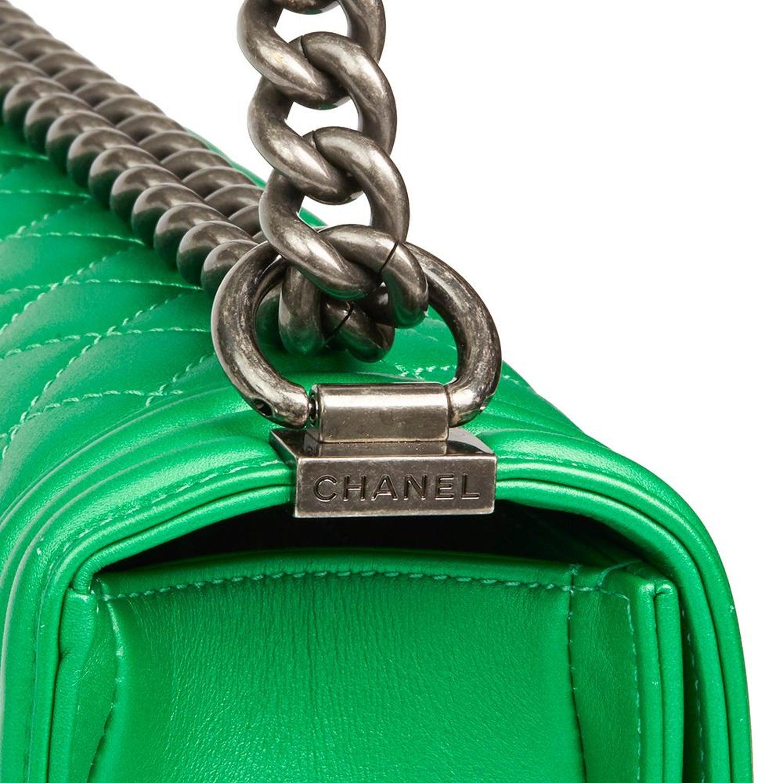 3f00c436f8c501 2015 Chanel Green Quilted Metallic Lambskin New Medium Le Boy at 1stdibs