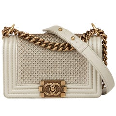 2015 Chanel Light Gold Scaled Metallic Calfskin Leather Small Le Boy