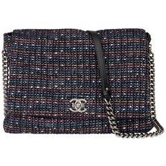 2015 Chanel Multicolour Tweed Fabric Messenger Flap Bag
