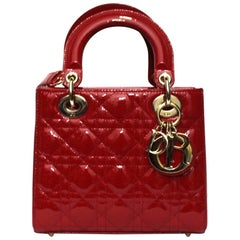 Dior Red Vernice Lady Bag