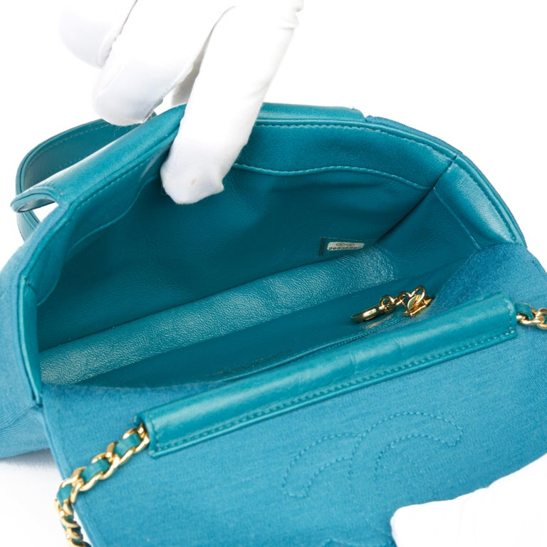 2015 Chanel Teal Jersey Fabric Mini Reissue Diana Classic Single Flap Bag For Sale 6